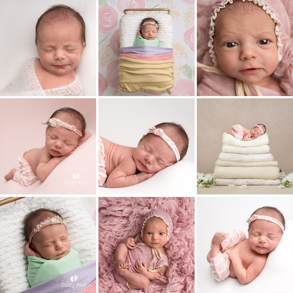 pink and white newborn photo styling